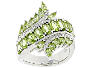 Green Peridot Rhodium Over Sterling Silver Ring 2.77ctw
