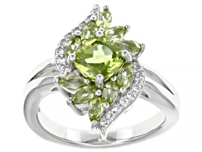 Green Peridot Rhodium Over Sterling Silver Ring 1.76ctw