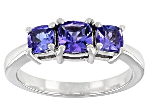 Tanzanite Rhodium Over Sterling Silver 3-Stone Ring 1.14ctw
