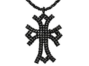 Rondelle Black Spinel Rhodium Over Sterling Silver Cross Necklace