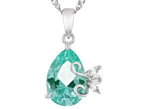 Green Lab Created Spinel Rhodium Over Silver Pendant With Chain 3.81ctw