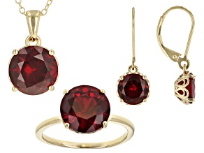 Red Lab Created Ruby 18k Yellow Gold Over  Silver Jewelry Set 9.27ctw