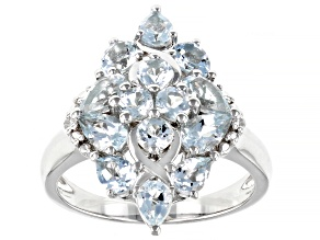 Blue Aquamarine Rhodium Over Sterling Silver Cluster Ring 1.81ctw