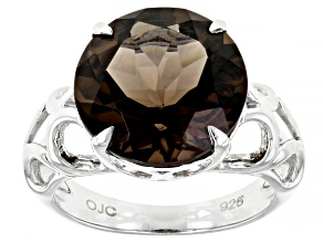 Brown Smoky Quartz Rhodium Over Sterling Silver Solitaire Ring 6.4ct