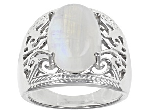 Multi-Color Rainbow Moonstone Rhodium Over Sterling Silver Ring 14x10mm