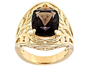 Brown Smoky Quartz 18K Yellow Gold Over Sterling Silver Ring 4.27