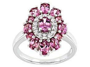 Blush Color Garnet Rhodium Over Sterling Silver Ring 2.62ctw