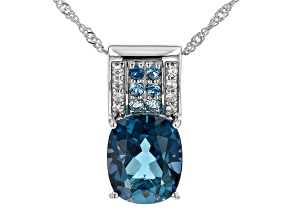 London Blue Topaz Rhodium Over Sterling Silver Pendant With Chain 6.54ctw