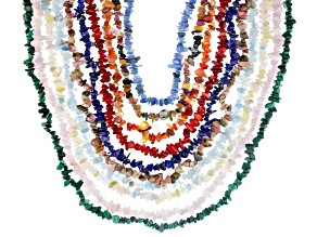 Scott's Holiday Collection Multi-Gemstone Endless Nugget and Chip Strand Necklace Set of 10