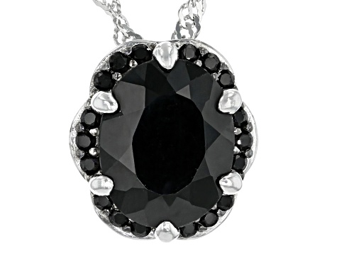 Black Spinel Rhodium Over Sterling Silver Pendant With Chain  2.87ctw
