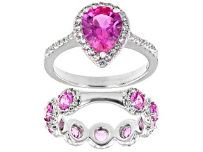 Pink Lab Created Sapphire Rhodium Over Sterling Silver Ring Set 3.85ctw