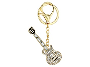 Picture of Back the Beat™ White Crystal, Gold Tone Electric Guitar Key Chain