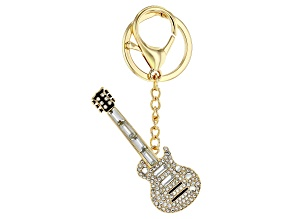 Back the Beat™ White Crystal, Gold Tone Electric Guitar Key Chain
