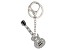 Back the Beat™ White Crystal, Silver Tone Electric Guitar Key Chain