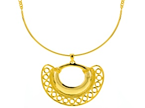 18k Gold Over Bronze Necklace With Fan Enchancer