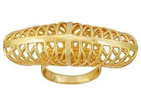 18k Yellow Gold Over Bronze Ring