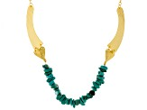 Blue Magnesite 18k Yellow Gold Over Bronze Necklace