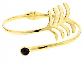 Black Agate 18k Gold Over Bronze Hinged Bangle Bracelet