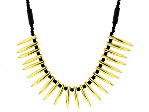 Black Artisan Glass 18k Yellow Gold Over Bronze Necklace