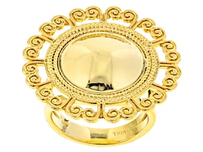 18k Yellow Gold Over Bronze Shield Ring
