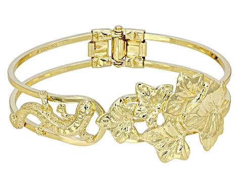 18k Yellow Gold Over Bronze Hinged Lizard Bangle Bracelet