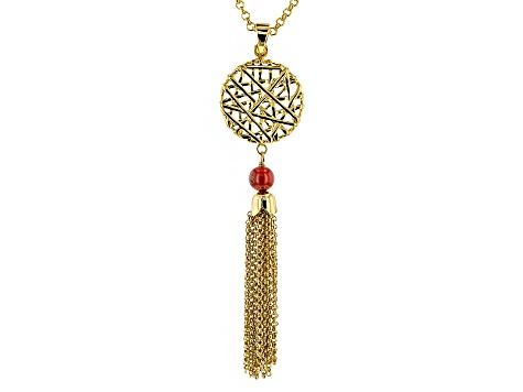 Red Coral 18k Yellow Gold Over Bronze Enhancer With Chain