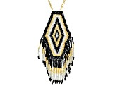 Multi-Color Glass Seed-Bead 18k Yellow Gold Over Bronze Necklace