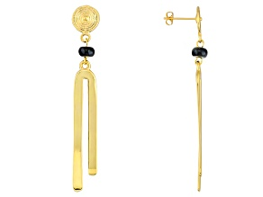 Black Agate 18k Yellow Gold Over Bronze Earrings