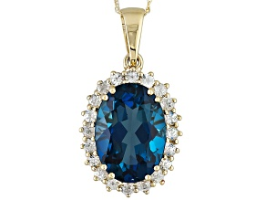 London Blue Topaz 10k Yellow Gold Pendant With Chain 6.63ctw