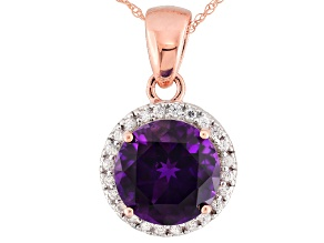 Purple Moroccan Amethyst 10k Rose Gold Pendant With Chain 2.83ctw