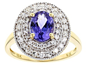 Blue Tanzanite 18k Yellow Gold Ring 1.52ctw