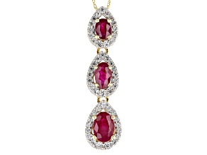 Red Burmese Ruby 14k Yellow Gold Pendant With Chain 1.35ctw