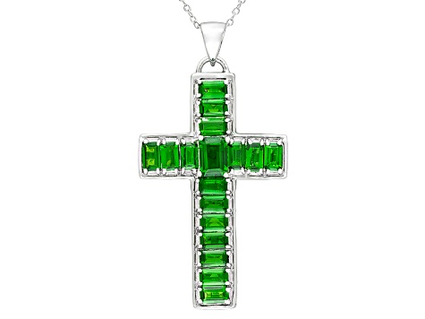 5.98ctw Emerald Cut Chrome Diopside Sterling Silver Cross Pendant Necklace