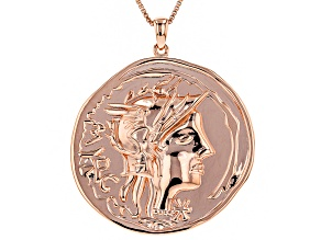 Copper Byzantine Coin Replica Pendant With Chain