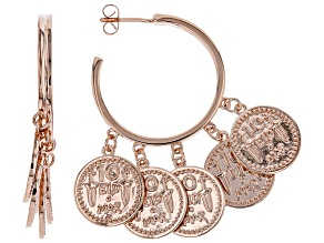 Copper Coin Replica Charm Hoop Earrings
