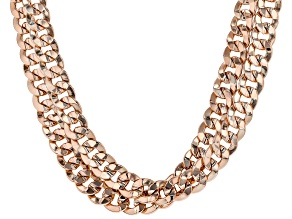 Copper Double Cuban Chain Necklace.