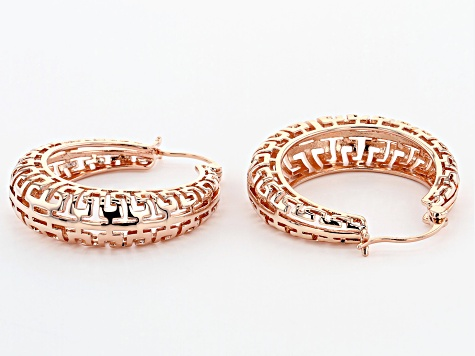 Greek Key Basket Copper Hoop Earrings