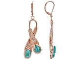 Turquoise Copper Feather Bypass Dangle Earrings