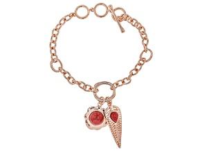 Pink Coral Copper Charm Bracelet.