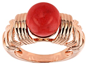 Pink Coral Bead Copper Ring