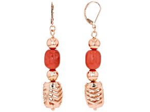 Pink Coral Copper Dangle Earrings