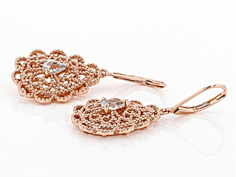 Sky Blue Topaz Copper Filigree Earrings .80ctw