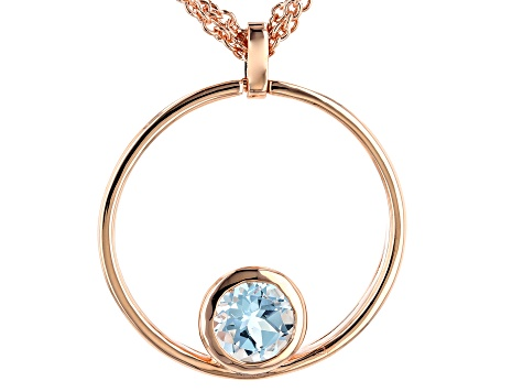 Sky Blue Topaz Copper Pendant With 3 Strand Chain 1.98ct