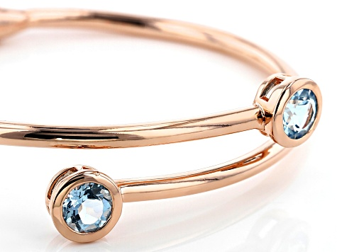 Sky Blue Topaz Copper Hinged Bypass Bangle  3.96ctw