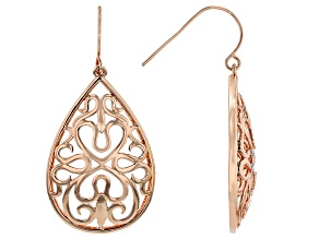 Copper Teardrop Filigree Dangle Earrings
