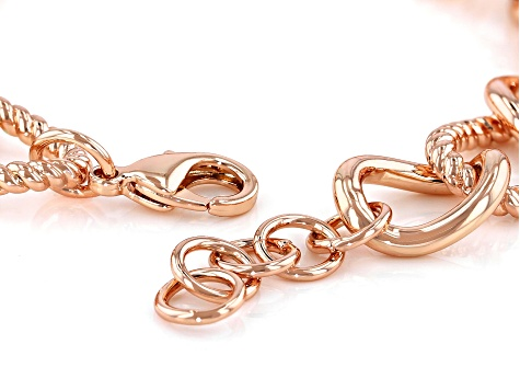 Textured and Smooth Copper Curb Link Chain Bracelet