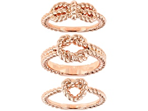 Copper Textured Knot 3 Rings Set