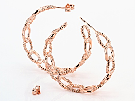 Textured and Smooth Copper Curb Link Chain J-Hoop Earrings