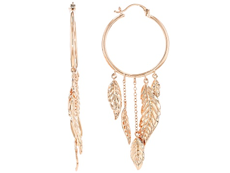 Copper Dream Catcher Design Hoop Earrings