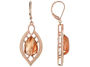 Red Sunstone Copper Dangle Earrings